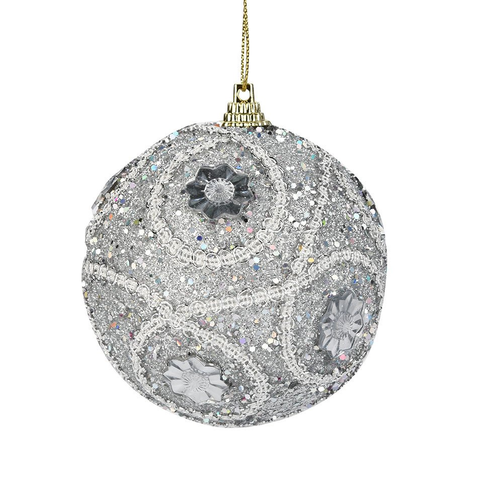 2018 Shatterproof Christmas Rhinestone Glitter Baubles Balls Xmas Tree Ornament Decoration Christmas Tree Pendants (Silver)