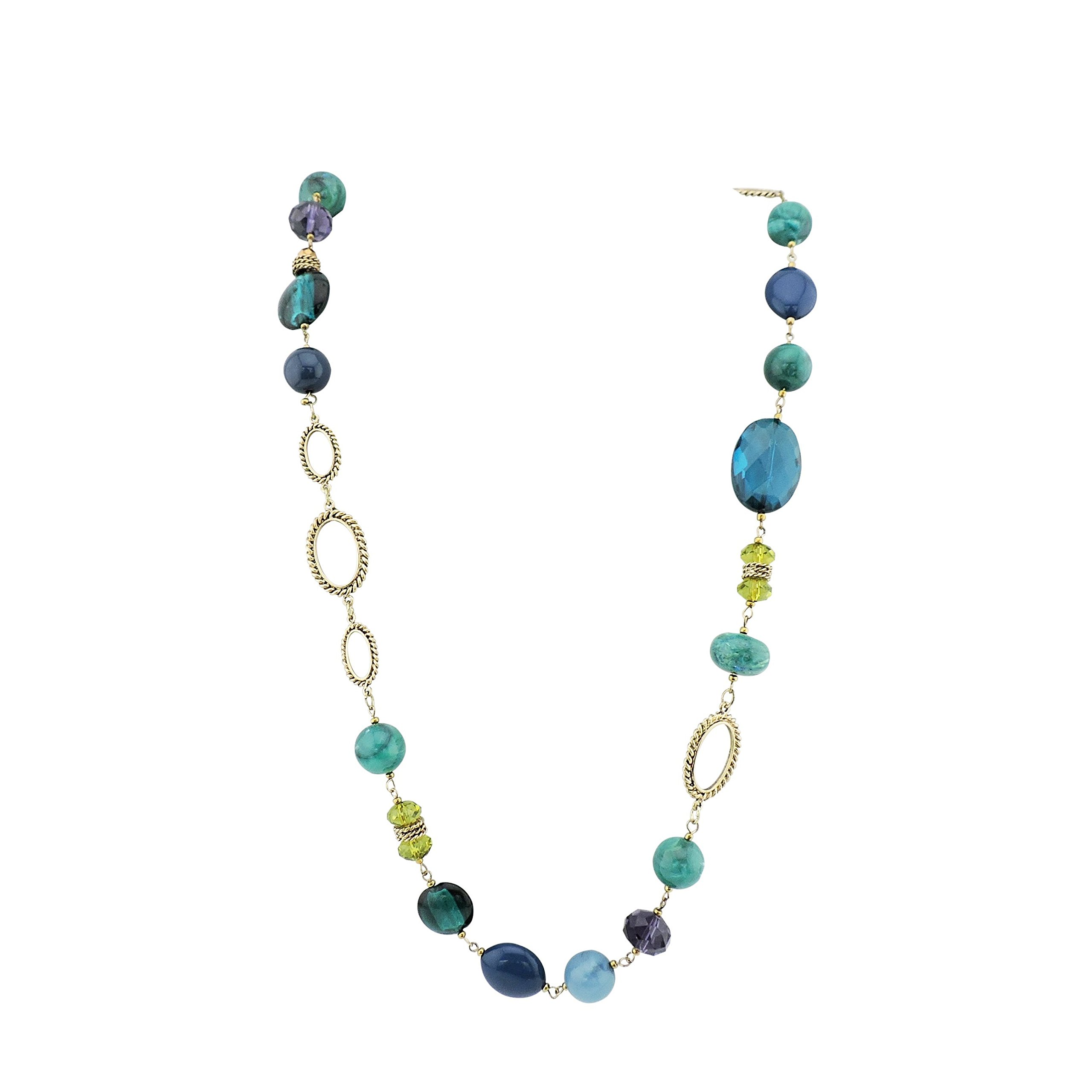 FIRSTMEET Long Fashion Handmade Resin Beaded Chain 43'' Necklace (XL-1001)