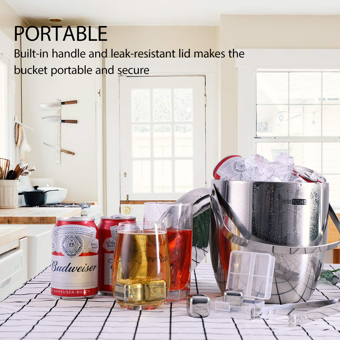 VIVOHOME 3Quart Stainless Steel Double Wall Insulated Ice Bucket Set with Lid Tongs Scoop and 4 Reusable Stainless Steel Ice Cubes Silver