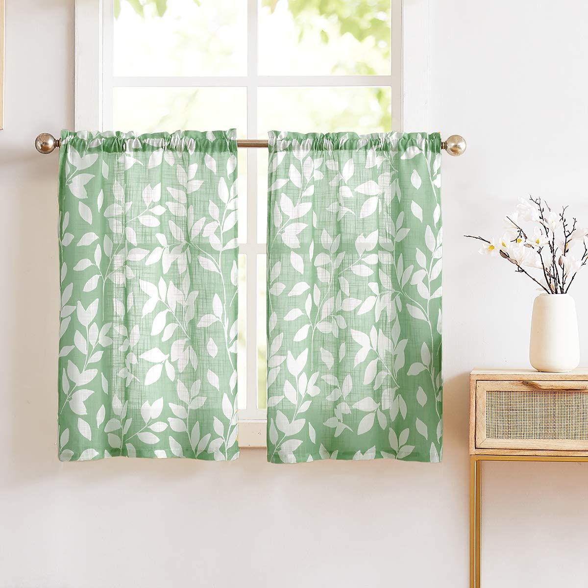 "NATWIN Tier Kitchen Curtains for Bathroom 24"" Green and White Leaves Print Tiers for Laundry Room Basement 2 Panels"