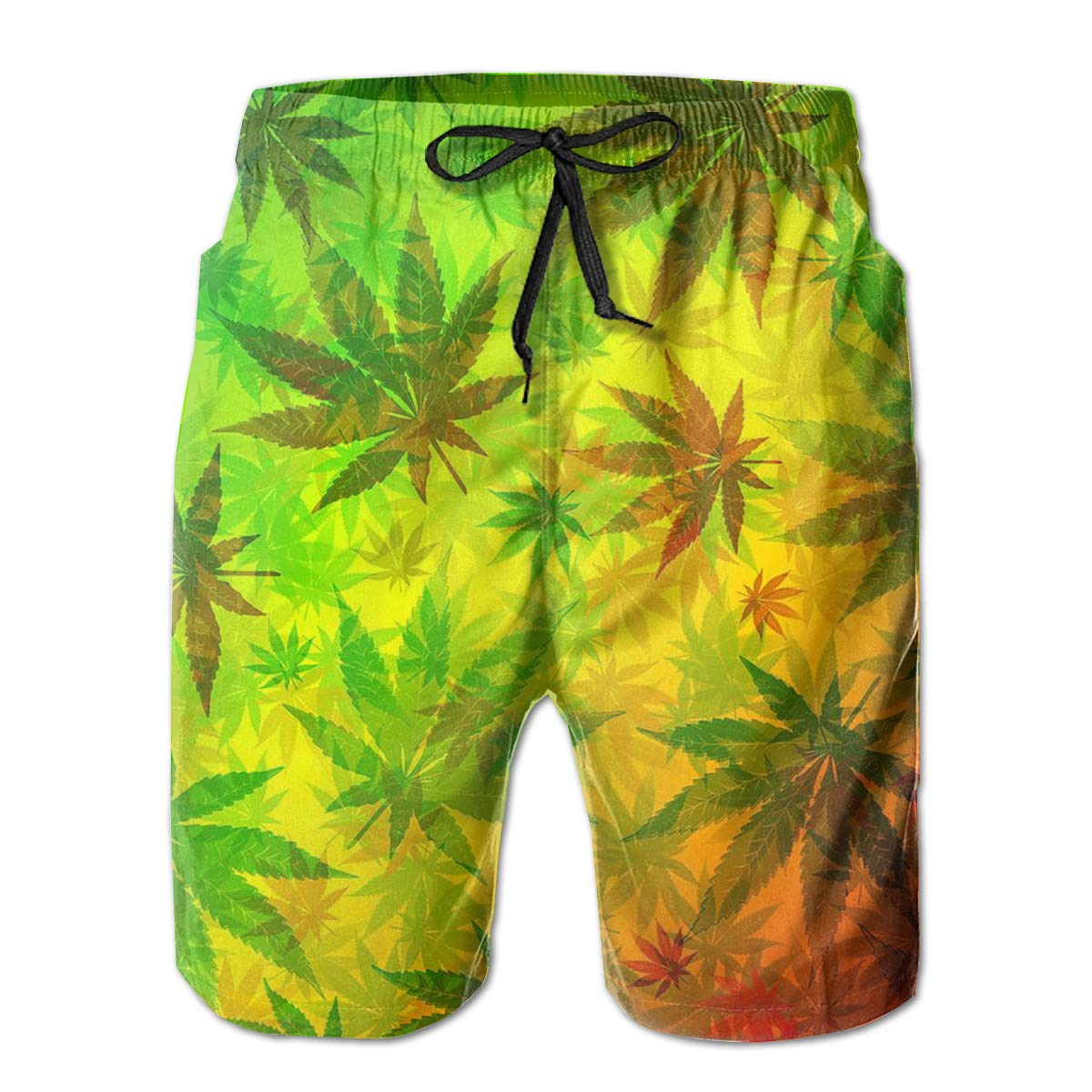 MikonsuWeed Reggae Mens Beachwear Surfing Boardshorts with Pocket