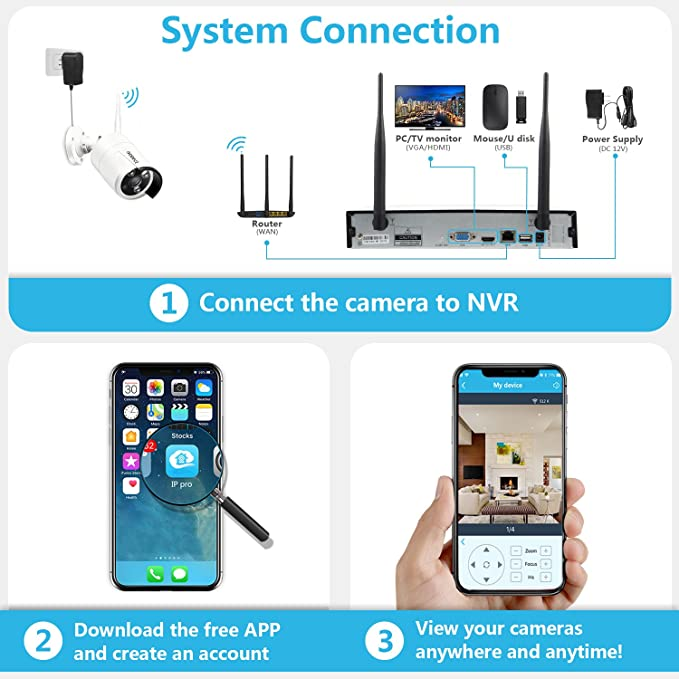 [2019 Newest] Wireless Security Camera System, Isotect Full HD 8CH 1080P  WiFi NVR Kit with 4pcs 1080P Indoor Outdoor Wireless Video IP Cameras,  Remote