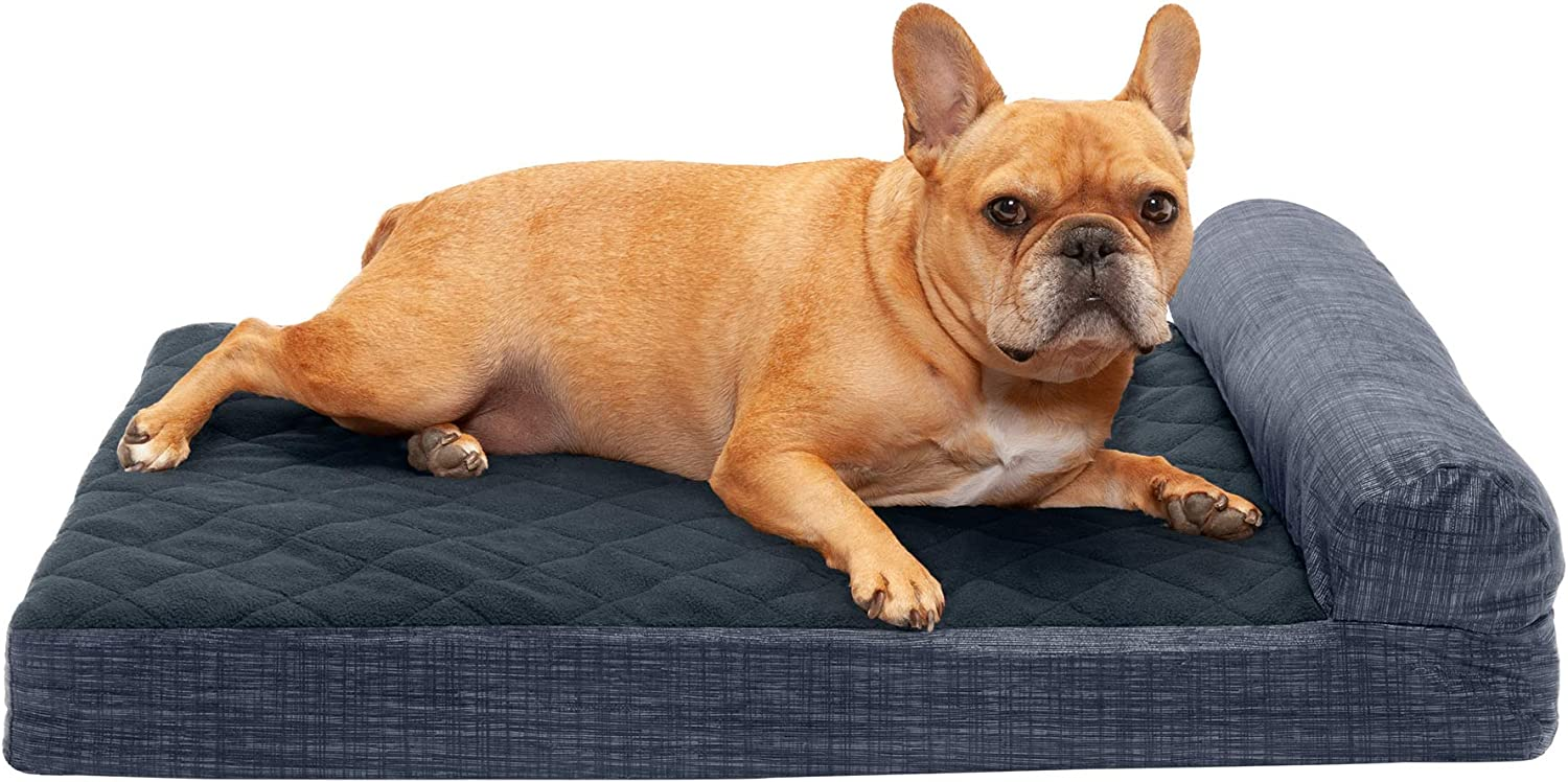 Furhaven Pet Dog Bed - Deluxe Cooling Gel Memory Foam Quilted Fleece and Print Suede Chaise Lounge Living Room Couch Pet Bed with Removable Cover for Dogs and Cats, Dark Blue, Medium : Pet Supplies