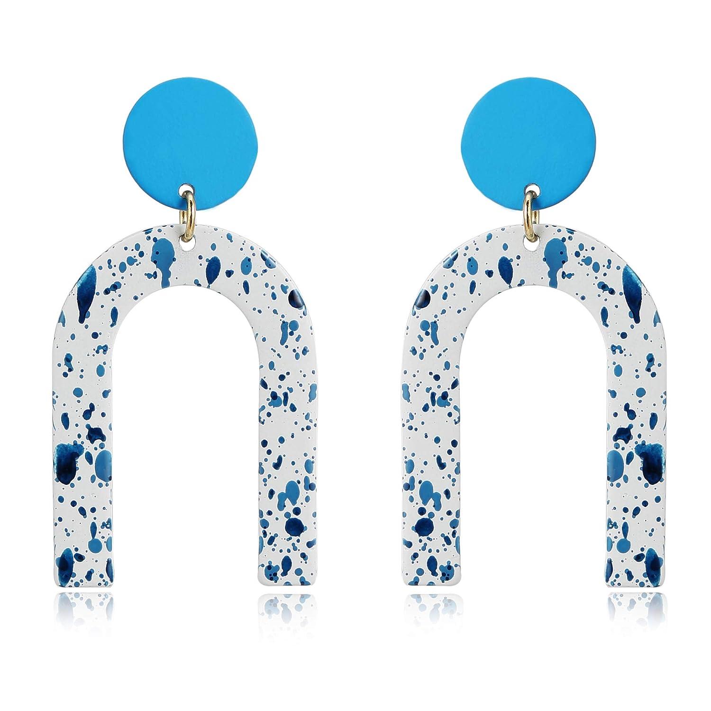 f9b3ade90 Amazon.com: MVCOLEDY Bohemian Style U Shape Drop Dangle Earrings Alloy  Stoving Varnish Stud Earrings for Women Fashion Jewelry (Blue Zeb): Jewelry