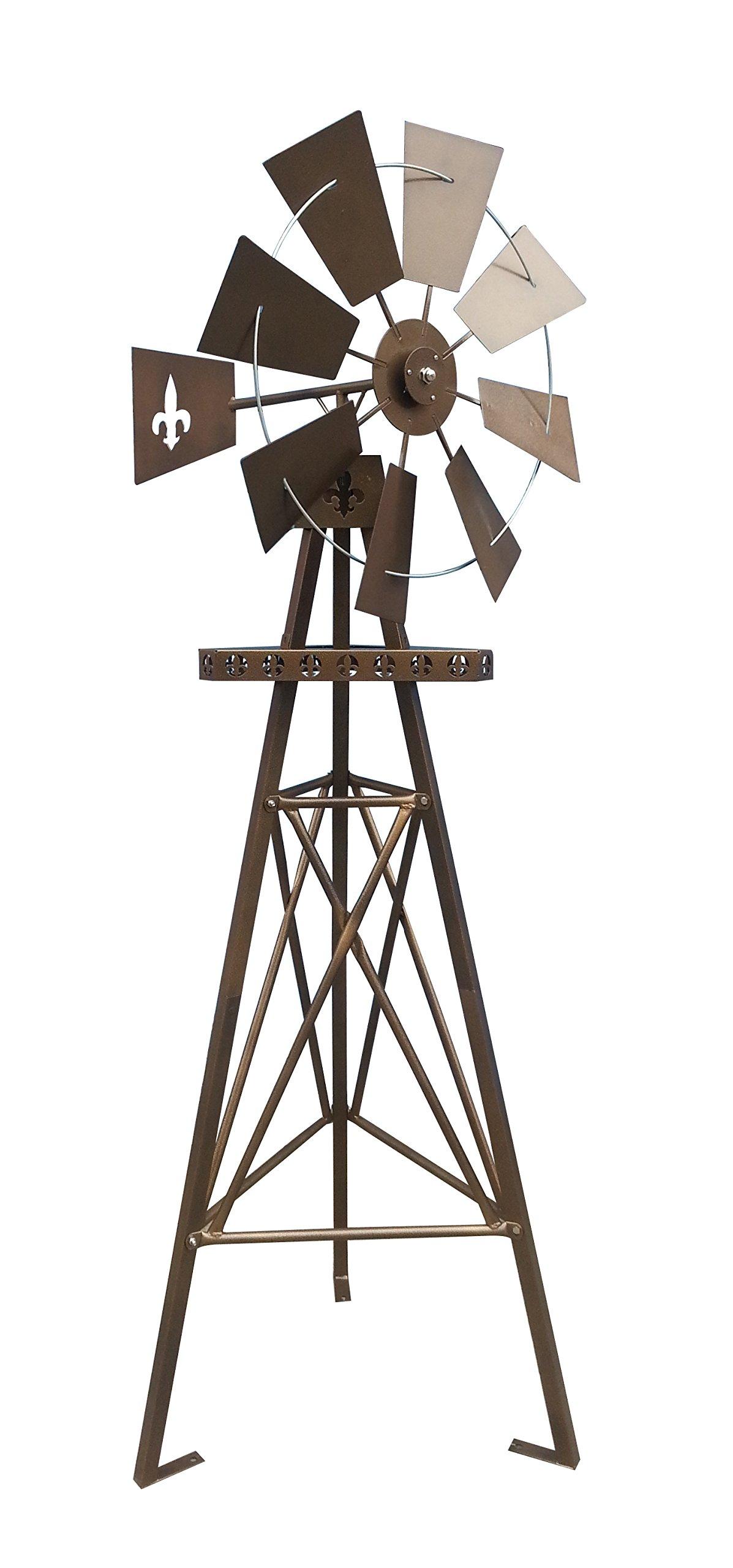 Leigh Country TX 93471 6' Rustic Tripod Fleur De Lis Metal Windmill