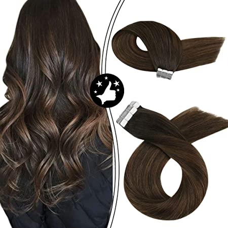 Image of Moresoo 20 Pulgadas Extensiones de Cabello Balayage Tape in Hair Colored Hair Marron Oscuro #2 Ombre to Marrón #6 Highlighted with #2 Remy Human Hair Adhesivo Extensiones 20pcs/50g