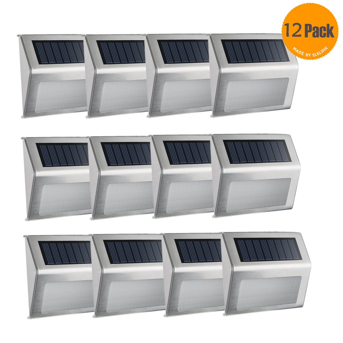 Solar Fence Post Lights,Elelink Outdoor Stainless Steel LED Solar Step Lamp; Illuminates Stairs /Path /Landscape /Garden /Floor /Wall /Patio Lamp, Waterproof (12 PACK)