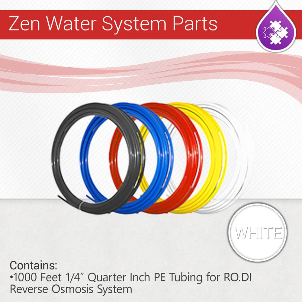 """Max Water 1000 Feet 1/4"""" Quarter Inch PE Tubing for RO.DI Reverse Osmosis System (White)"""