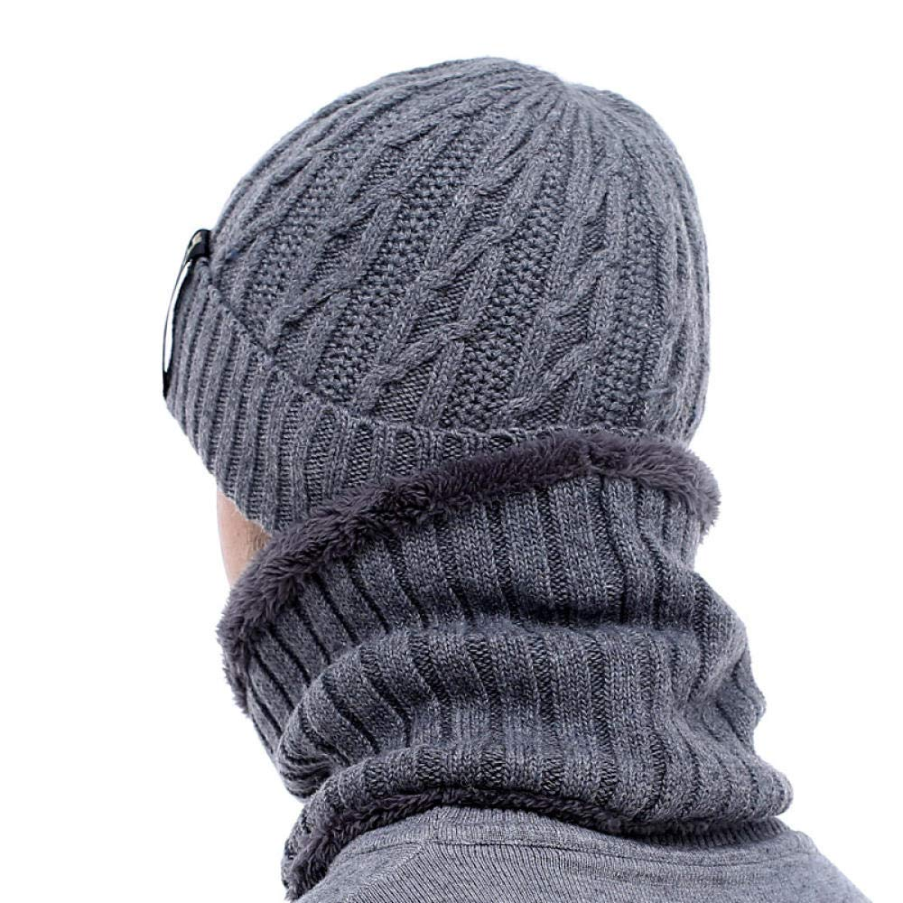Winter Hatsfor Mens kullies Beanies Men Winter Knitted Hat Scarf Wool Women Gorras Bonnet Mask Male Beanie Hat Cap@Navy Set