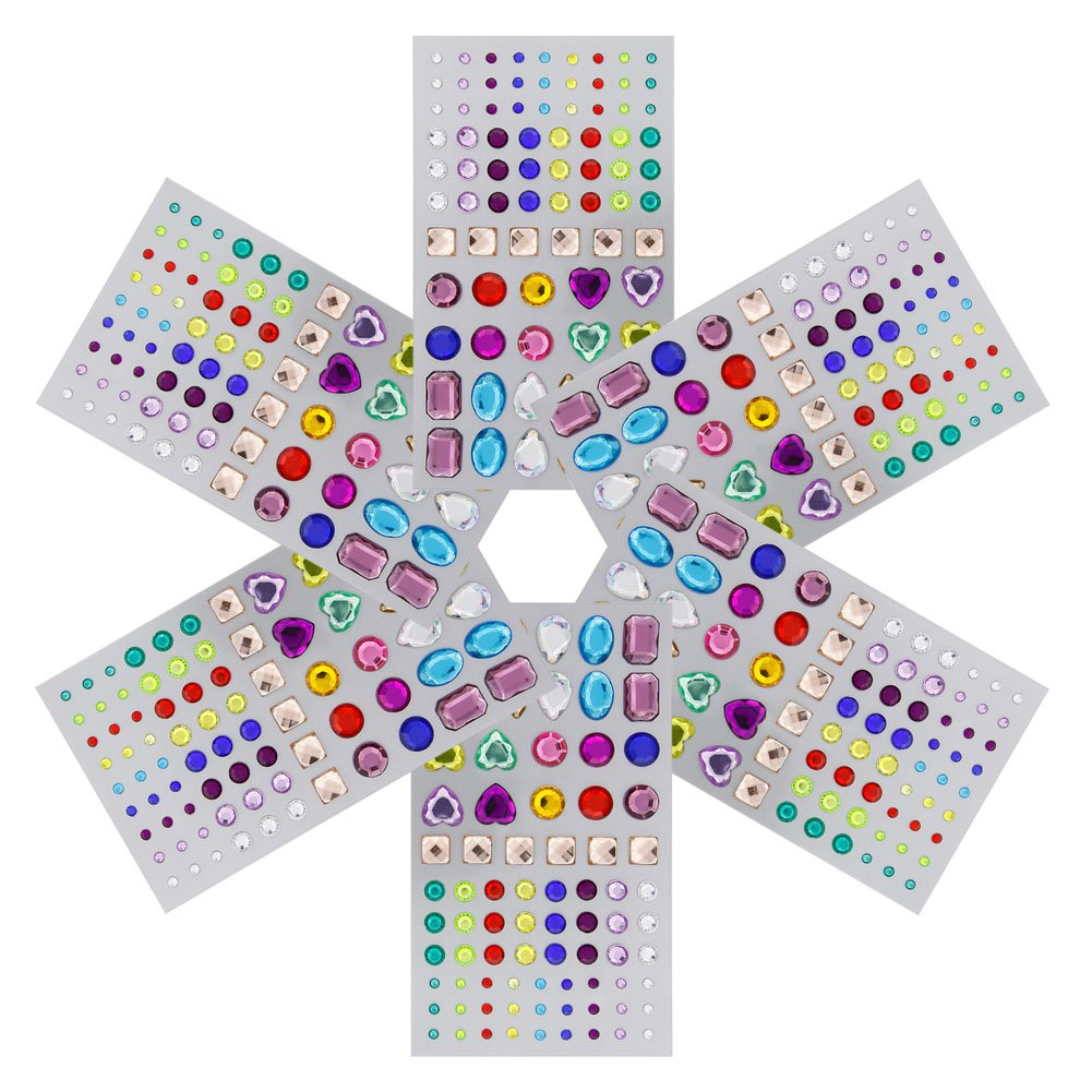 JUANYA Self-adhesive Rhinestone Sticker Multicolor Bling Craft Jewels Crystal Gem Stickers, Assorted Size, 6 Sheets 4336848258