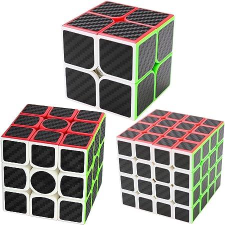 Coolzon Puzzle Cubes 2x2x2 + 3x3x3 + 4x4x4 3 Pack Cubo Magico con Pegatina de Fibra de Carbono Velocidad: Amazon.es: Juguetes y juegos