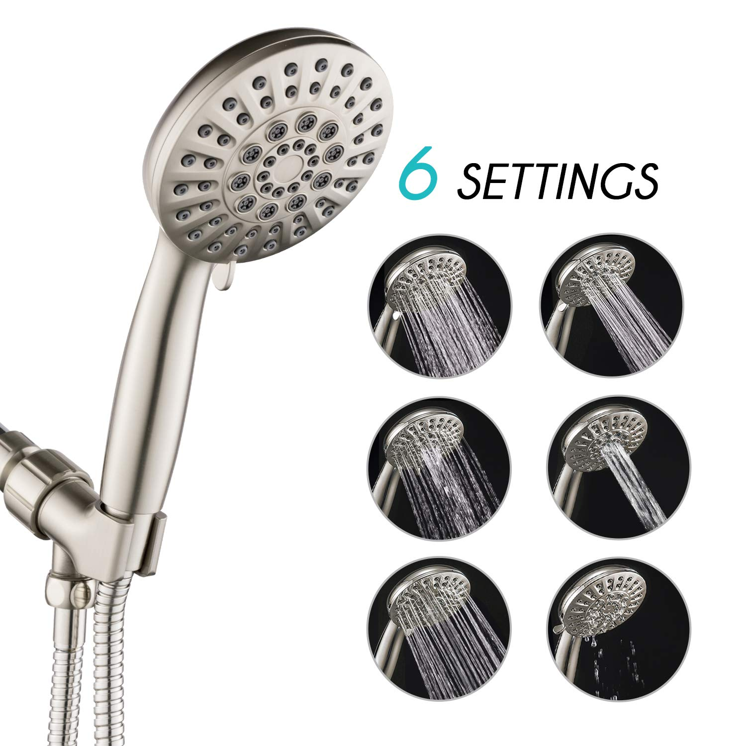 ANZA 6 Spray Settings Hand Held Shower Head with Hose, 4.3'' Water Saving Massage Rain High Pressure Handheld Shower Head, Angle-Adjustable Bracket, 5 Ft Stainless Steel Hose, Luxury Brushed Nickel