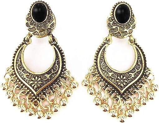 LQQSTORE Ohrringe Damen Ohrstecker Indische Bollywood Schmuck Vergoldet Hochzeit Tragen Traditionelle Polki Geschnitzt Troddelohrringe Elegant