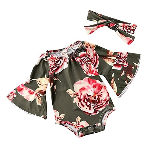 affaca14071 GSHOOTS Baby Girls  Flare Sleeve Floral Romper Long Sleeve Bodysuit with  Headband 2Pcs Set (