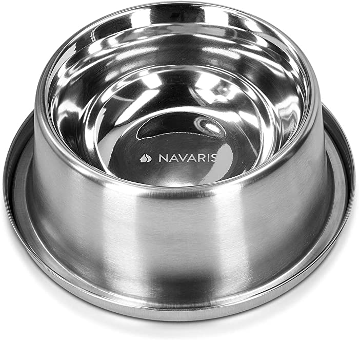 Navaris Stainless Steel Cooling Bowl - Non Slip Pet Cooling Bowl for Dogs and Cats - Freeze and Keep Water or Food Cool in The Summer - 850ml / 28.7oz