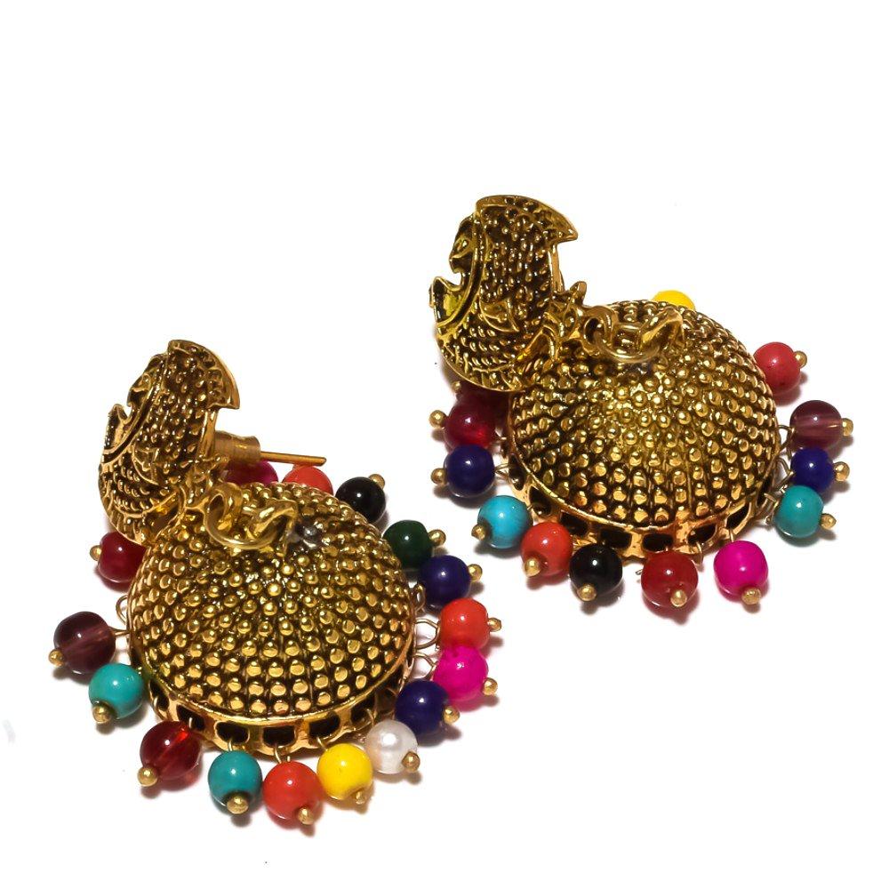 Multi-Color Plan Beads Brass Metal 25 Grams Jhumka//Earring 2 Ethnic Wear Handmade Indian Jewelry