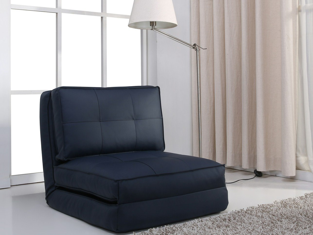 ARTDECO Schlafsessel Jugendsessel Gästebett Kindersessel Klappsessel Kunstleder dunkelblau groß