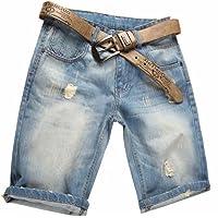 Valuker Herren Denim Bermuda Jeans Shorts Sommer Kurze Hose hellblau Ohne Guertel