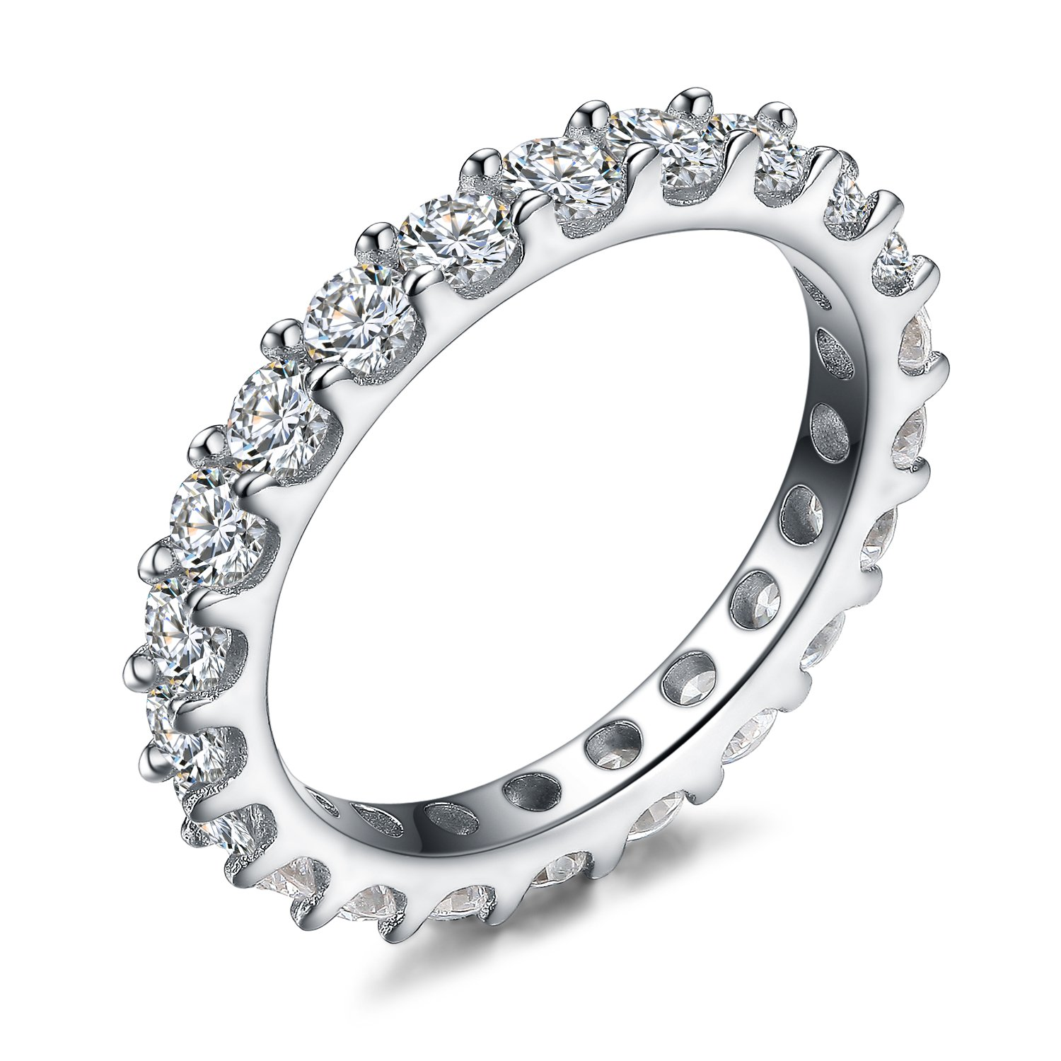 UMODE 925 Sterling Silver Eternity Ring All Around Cubic Zirconia Cz Band for Women Size 8