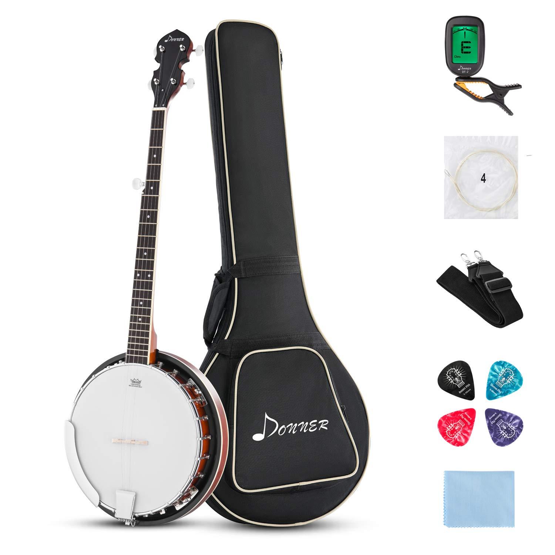Tuner Strings and Cloth Picks Donner 5 Strings Banjo Ukulele DBJ-200 With Bag