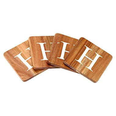 Wood Coasters for Drinks - 4-Pack Square Cup Coasters Personalized Monogram Coasters | Funny Housewarming Gift Wedding Decorations Or Even For Your Kitchen, Office Desk & Coffee Table
