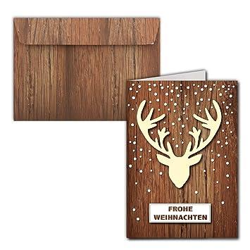 15x Weihnachtskarten Din A6 Hirschgeweihmit Brief Umschläge In
