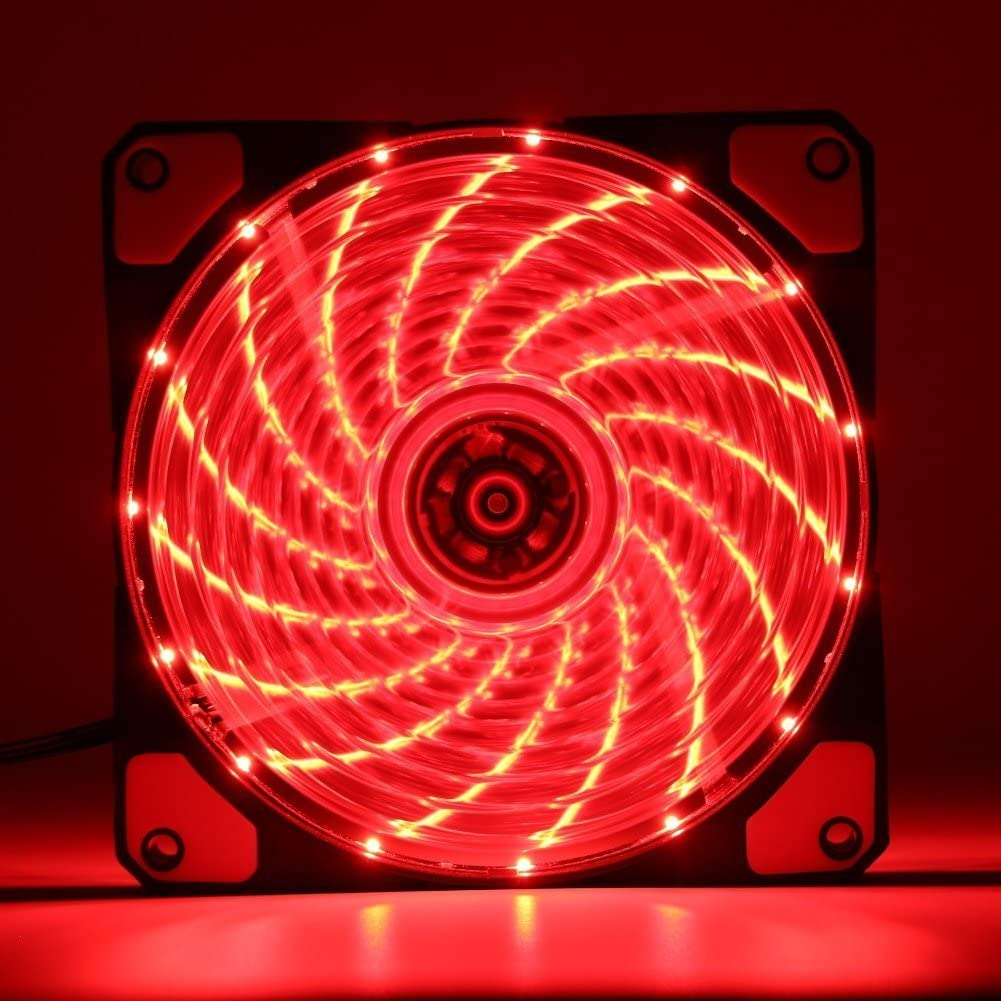 V2AMZ 120mm PC Computer 16dB Ultra Silent 15 LEDs Case Fan Heatsink Cooler Cooling w//Anti-Vibration Rubber,12CM Fan,12VDC 3P IDE 4pin