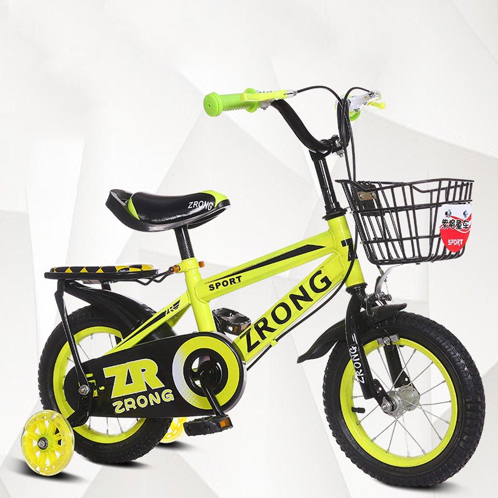 子供用自転車14インチキッズバイク3-5歳のベビーバイク高炭素スチールベビーカー、赤/青/緑 (Color : Green) B07CXMCHTS