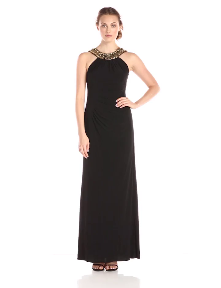 Amazon.com: Xscape Women\'s Halter Beaded Neck Gown, Black/Gold, 8 ...