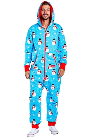 cca870f640ea Men s Christmas Onesie Pajamas - Blue Chilly Snowman Holiday Adult  Jumpsuit  Medium