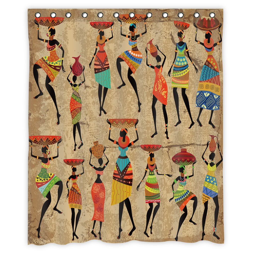 African Women Shower Curtain Decor By MugodAfrican Afrocentric Artwork In Tribal Dresses Carrying Water Polyester Fabric Waterproof Bathroom