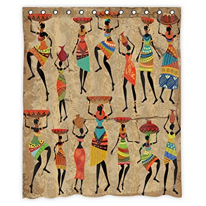 African Women Shower Curtain Decor By MugodAfrican Afrocentric Artwork In Tribal Dresses