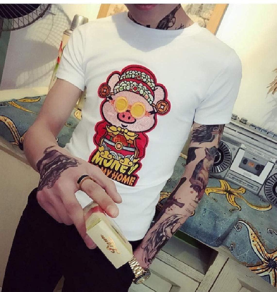 Zimaes-Men Cartoon Fine Cotton Regular Embroidered Summer T-Shirt Tops