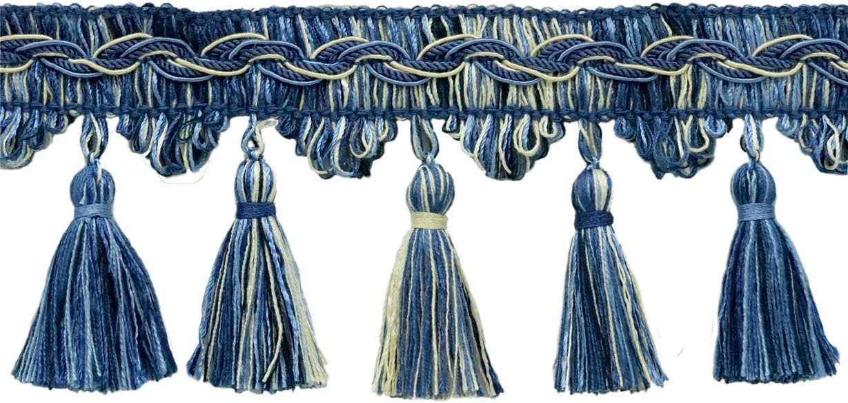 Light Blue Color: Nautical French Blue Style# VTF035 VNT24 Sold by The Yard D/ÉCOPRO Veranda Collection 3.5 Inch Tassel Fringe Trim White