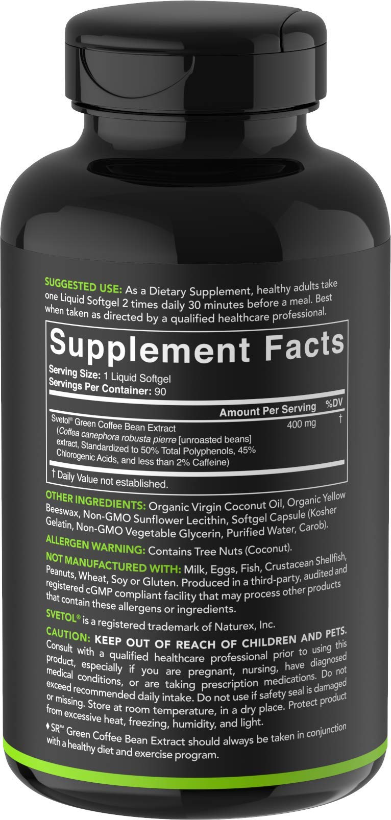 SVETOL Green Coffee Bean Extract, 90 Liquid Softgels with 400mg of Clinically-Proven Svetol Per Cap by Sports Research (Image #5)