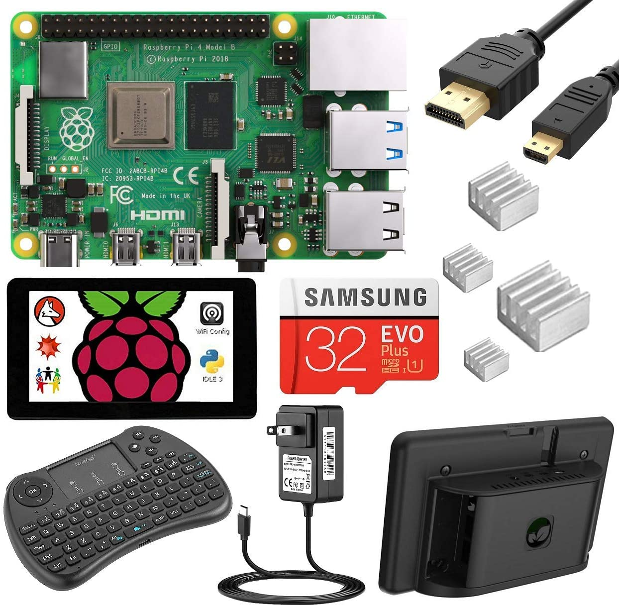 NEEGO Raspberry Pi 4 4GB Complete Kit, with Touchscreen, Keyboard and Case - 4GB RAM