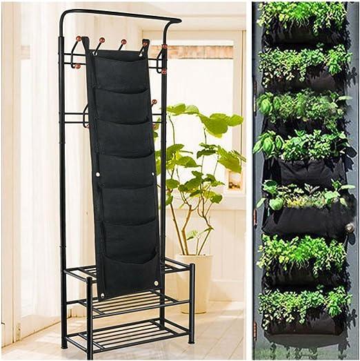 7 bolsillos verticales para colgar plantas, macetas, macetas, jardín, maceta de pared: Amazon.es: Jardín