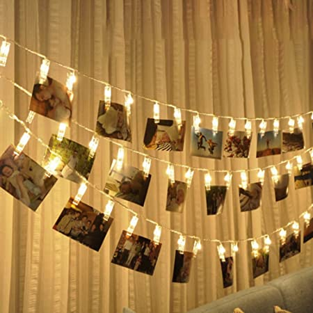 Bulfyss Led Photo Clip Remote String Lights, 10 Leds Battery Operated Fairy String Lights 5 Feet Warm White