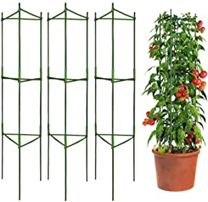 Mersunt 3 Packs Tomato Cages Plant Cages Deformable Up to 48inch Garden Tomato Stakes Vegetable Trellis, Plant Supports Tomato Trellis for Vertical Climbing Plants Flowers Fruits