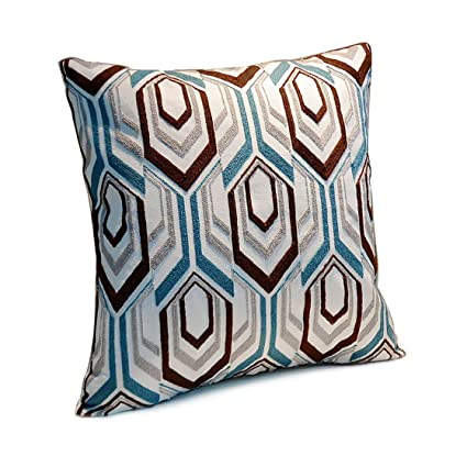 Riverbyland Linen Decorative Pillows Cover Blue And Brown Embroidery Quot