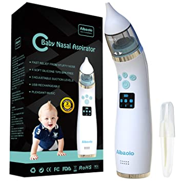 Nasal Aspirator Newborn Electric USB Rechargeable Nose Snot Sucker Vacuum Cleaner with 5 Strengths of Suction for Newborn Toddler Infant
