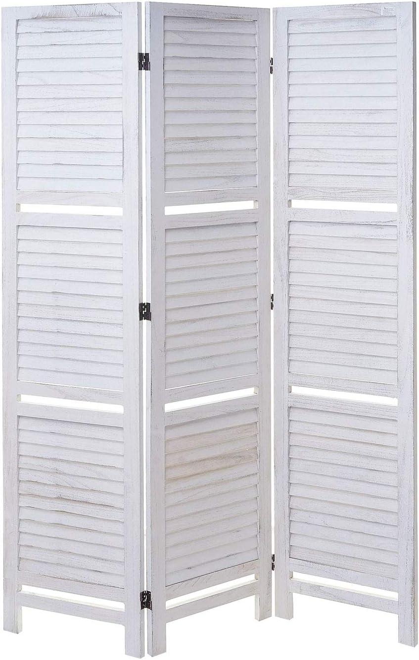 Trennwand Raumteiler mit Regalb/öden 170x125cm Mendler Paravent Yvelines Shabby Look ~ braun//braun
