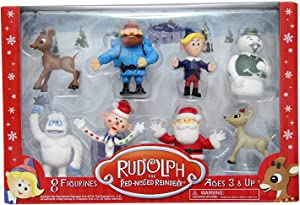 "Rudolph the Red Nosed Reindeer Figures - Bring the Story to Life - Ideal for Holiday Decorating, Cake Toppers, Playtime - Includes 2"" Figure of Rudolph, Hermey, Bumble and More - 8 Piece Figurine Set"