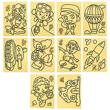 10 Adet Küçük Boy Kum Boyama Seti 12cm X 16cm Boyutunda Karışık