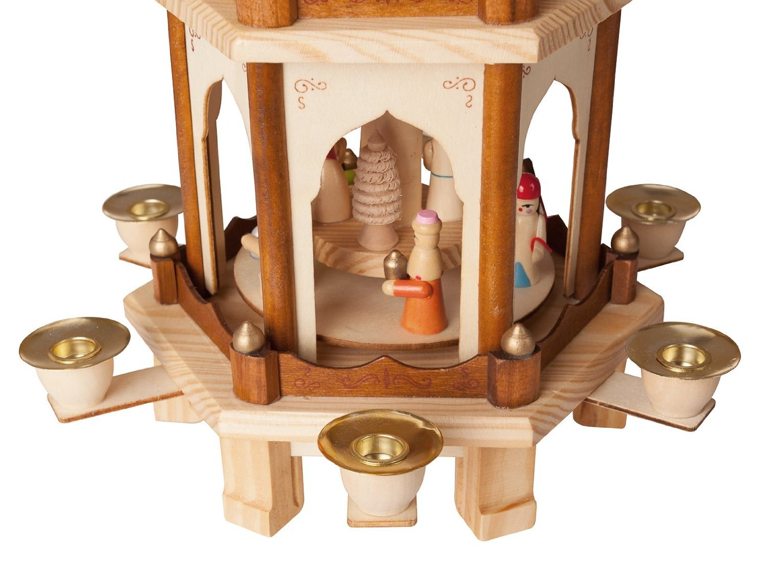 BRUBAKER Christmas Pyramid - 24 Inches - 4 Tier Carousel with 6 Candle Holder and Hand Painted Figurines - Designed in GERMANY - Nativity Set, Decoration by BRUBAKER (Image #6)