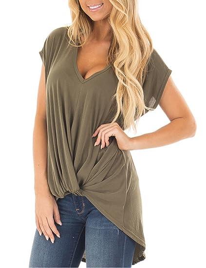 7606775089a Amazon.com  BMJL Women s Long Sleeve Crew Neck Knot Shirt Color Block Loose  Fitting Twist Top T Shirt  Clothing