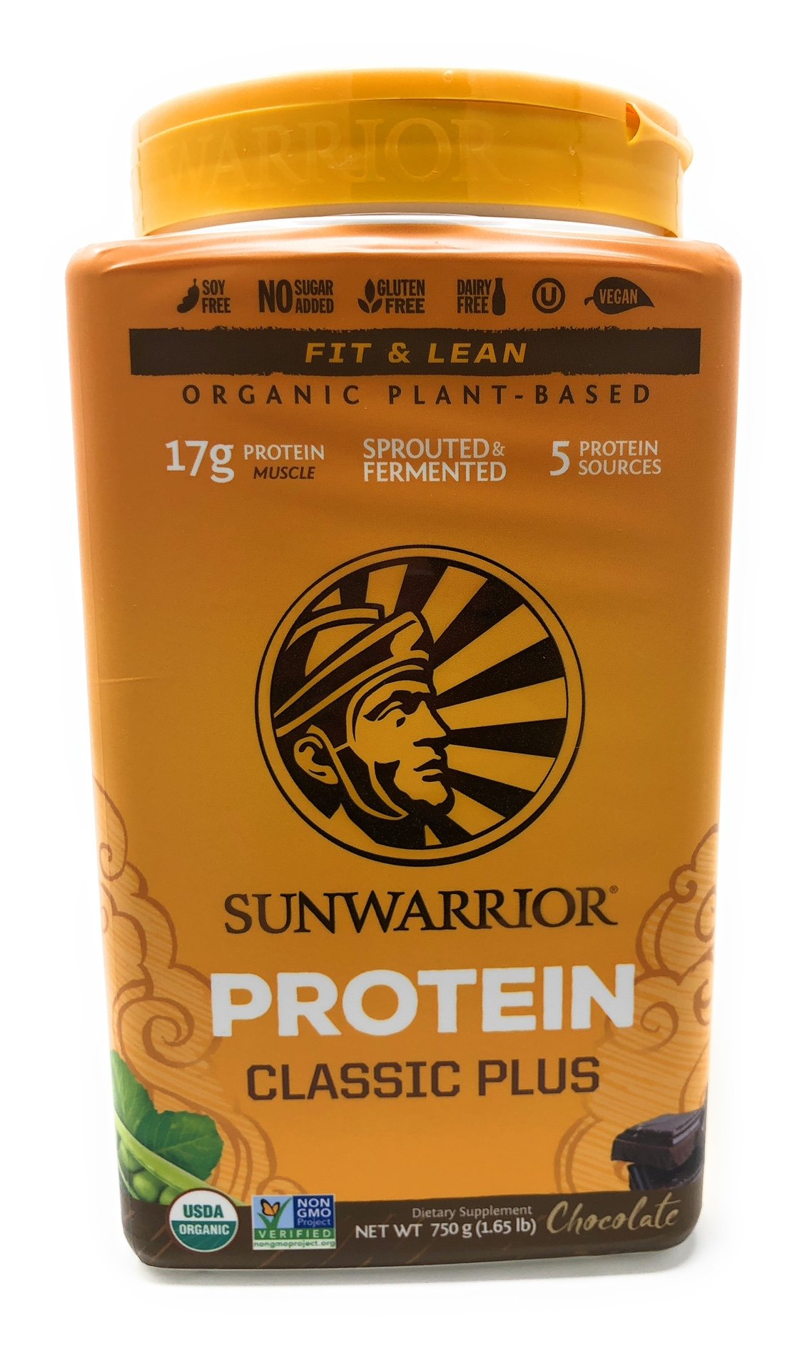 Sunwarrior - Classic Plus, Vegan Protein Powder with Peas & Brown Rice, Raw Organic Plant Based Protein (30, Chocolate). by Sunwarrior