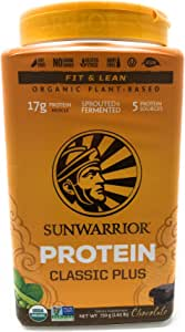 Sunwarrior Classic Plus Organic Vegan Protein Powder with BCAAs and Pea Protein (Chocolate, 30 Servings)