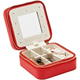 Vlando Small Travel Jewelry Box Organizer - Refined Carry-on Jewelries Storage Case Rings Earrings Necklace (Red)