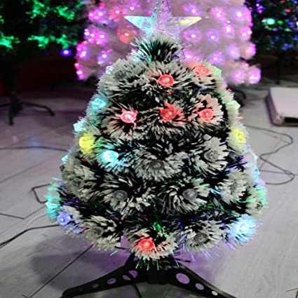 jin fiber optic christmas tree creative led colorful glitter decorations gift 2 pieces 60cm